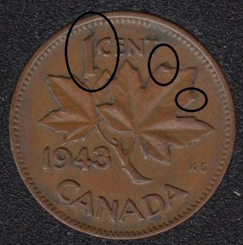1943 - Dot on ML - Break ML to 1 to Rim - Canada Cent