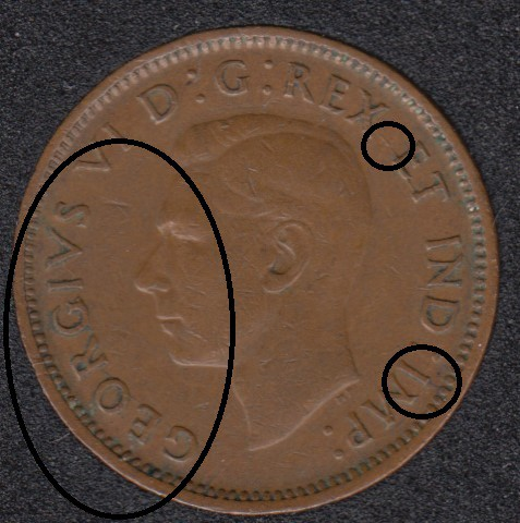 1945 - Break GEORGV Attached to Rim & 2 Break - Canada Cent