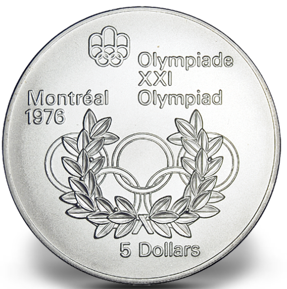 1976 - #08 (1974) - $5 - Sterling Silver Coin,Montreal Summer Olympic Games, Olympic Rings and Wreath
