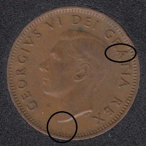 1950 - Break Bust to Rim & A to Rim - Canada Cent