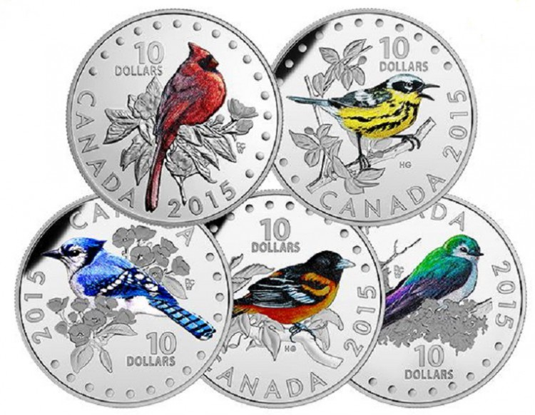 2015 - 5 Coins set of $10 in Fine Silver - Colourful Songbirds