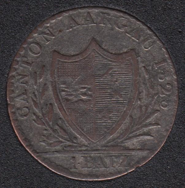 1826 - 1 Batz - Swiss canton Aargau - F/VF - Switzerland