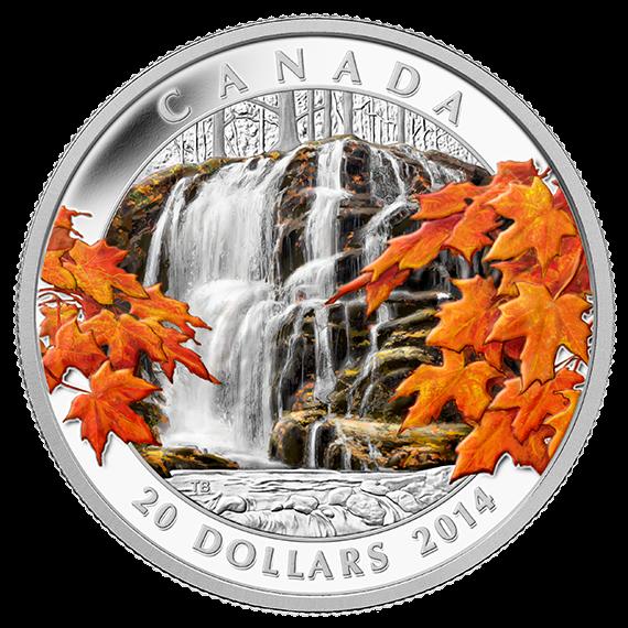 2014 - $20 - Pièce de 1 oz en argent fin - Cascades d'automne