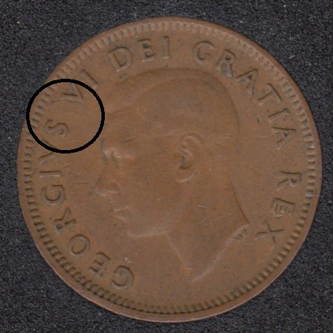 1950 - Break Between S & V - Rotated Dies - Canada Cent