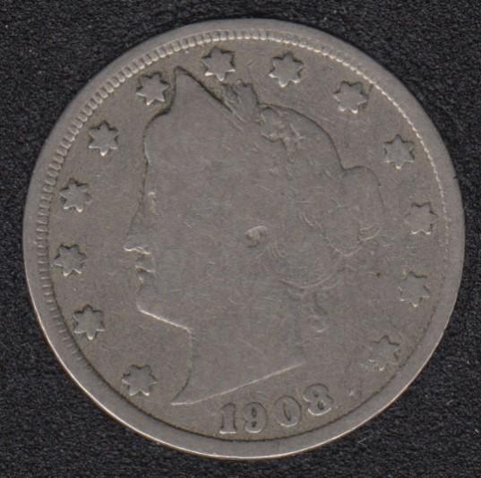 1908 - Liberty Head - 5 Cents