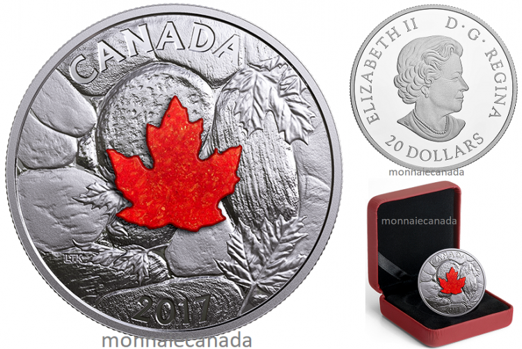 2017 - $20 - 1 oz. Pure Silver Coin - Majestic Maple Leaves With Drusy Stone