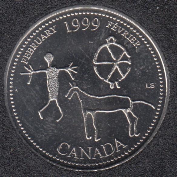 1999 - #2 - B.Unc - February - Canada 25 Cents