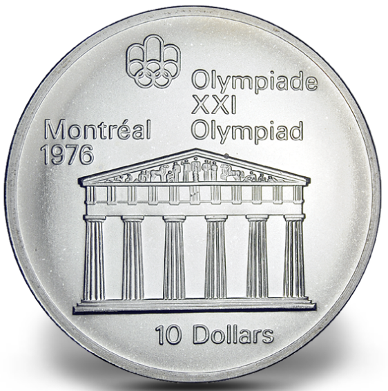 1976 - #07 (1974) - $10 - Sterling Silver Coin, Montreal Summer Olympic Games, Temple of Zeus