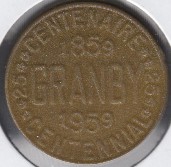 Granby - 1959 - 1859 - Centenaire de Granby - Rotated Dies 85° - 25¢ Trasde Dollar