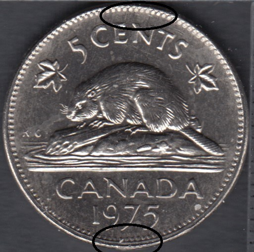 1975 - B.Unc - Off Center - Canada 5 Cents