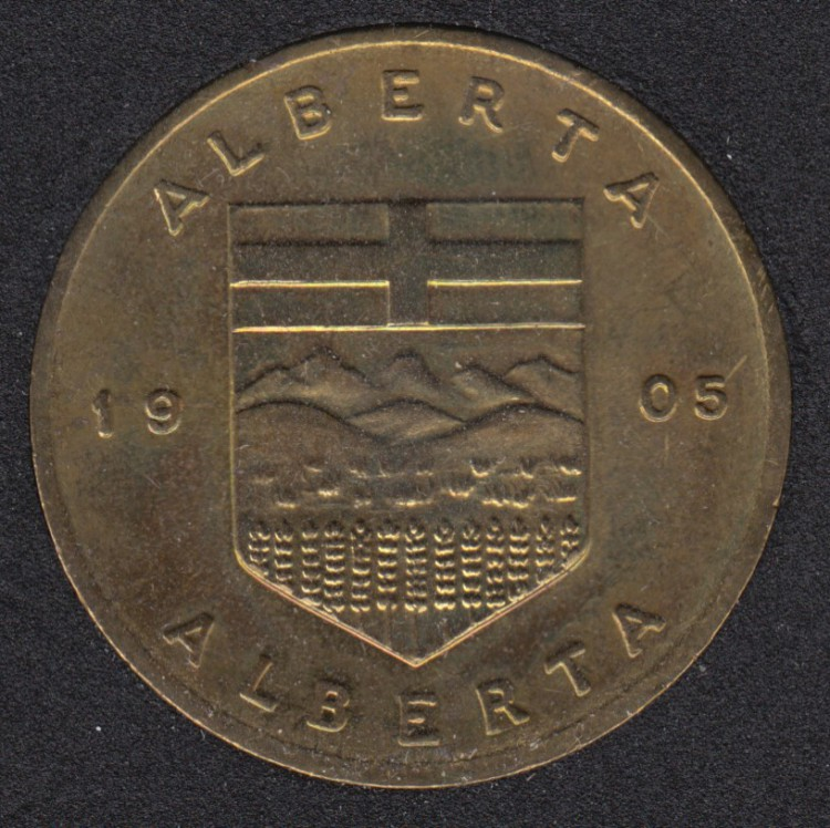 Coat of Arms of Alberta  (1905) Medal - with SK Flower Wild Rose
