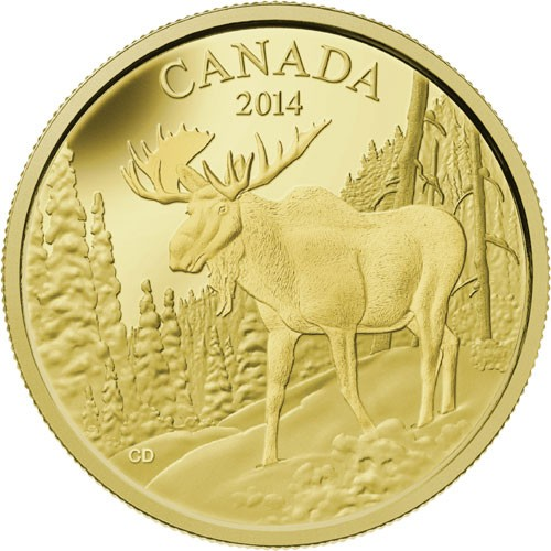 2014 - $350 - Pure Gold Coin - The Majestic Moose