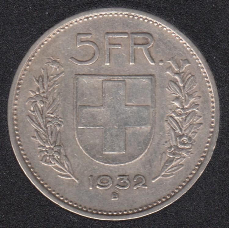 1932 B - 5 Francs - Suisse