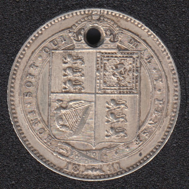 1891 - Shilling - Holed - Great Britain