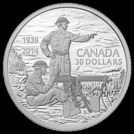 2014 - $30 - 2 oz. Fine Silver Coin - Canadian Machine Gunner in Training