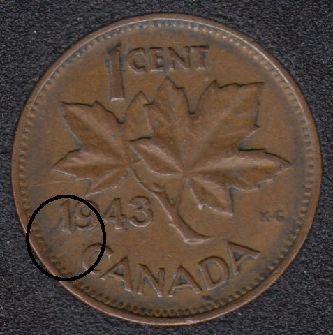 1943 - Planchet Flaw Between 1 & 9 to Rim - Canada Cent