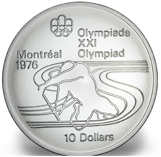 1976 - #17 (1975) - $10 - Sterling Silver Coin, Montreal Summer Olympic Games, Paddling