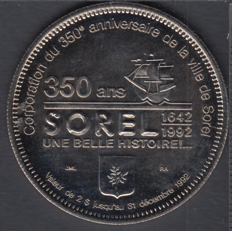 Sorel - 1992 - 1642 - 350° Ann. - $2 Trade Dollar