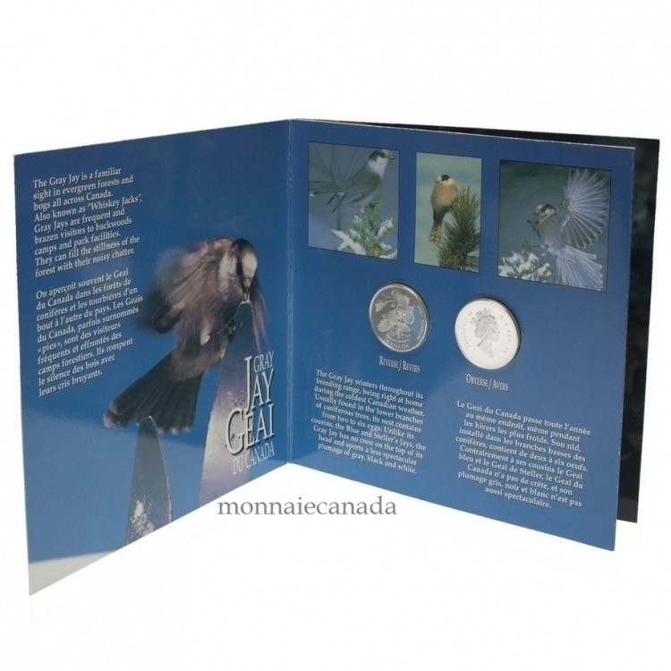 1995 Proof Silver 50 cent Birds of Canada Set  Gray Jay + White-Tailed Ptarmigan