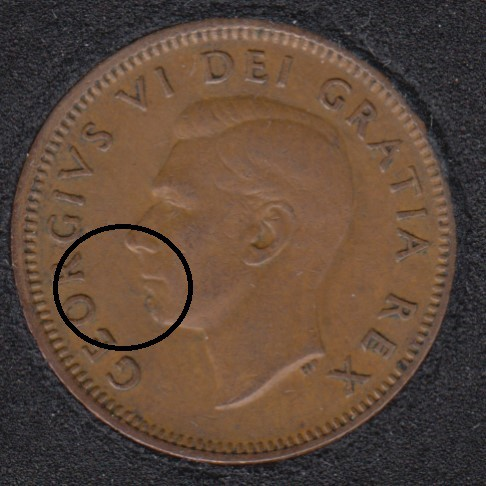 1949 - Planchet Flaw - Canada Cent