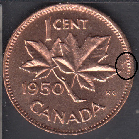 1950 - B.Unc - Planchet Flaw & Rotated Dies - Canada Cent