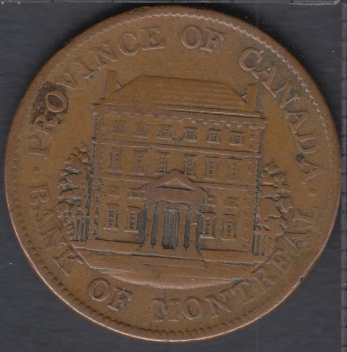P.C. 1844 Half Penny Token Banf of Montreal View PC-1B1