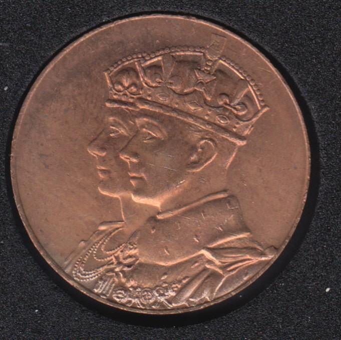 1939 - B.Unc - Royal Visit - George VI and Elizabeth - Small Medal