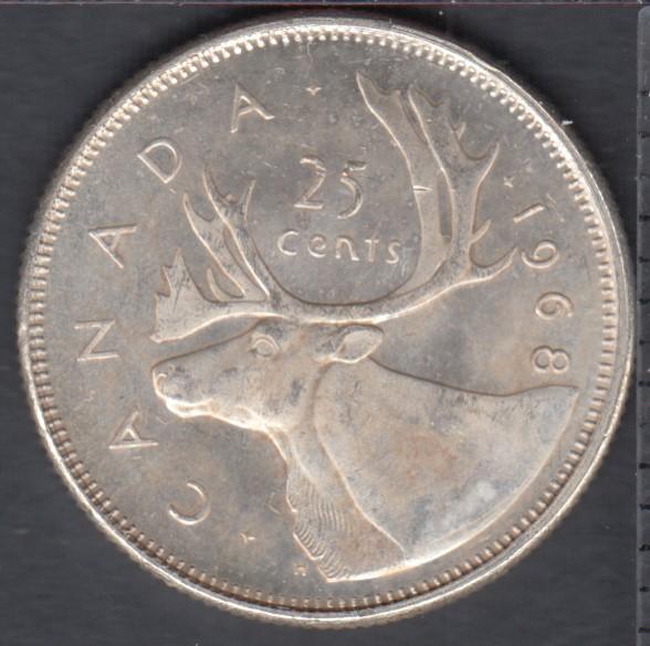 1968 - B.Unc - Silver - Canada 25 Cents