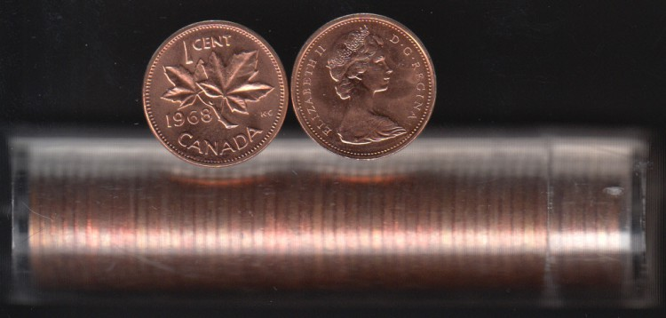 1968 Canada 1 Cent - BU ROLL 50 Coins - UNC - in Plastic Tube