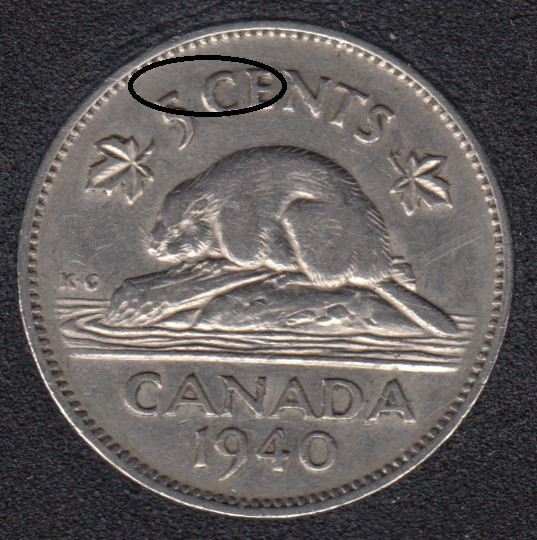 1940 - Die Break CE Attached - Canada 5 Cents