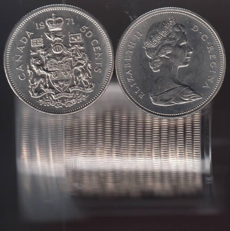 1971 Canada 50 Cents - Half Dollar - BU ROLL 21 Coins - UNC