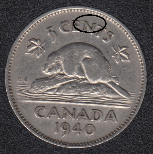 1940 - Die Break ENT Attached - Canada 5 Cents