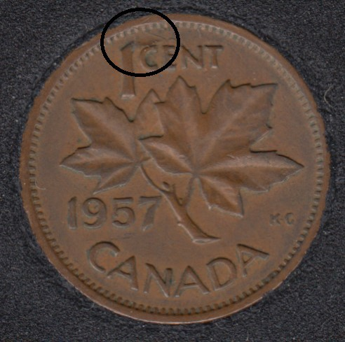 1957 - Planchet Flaw - Canada Cent