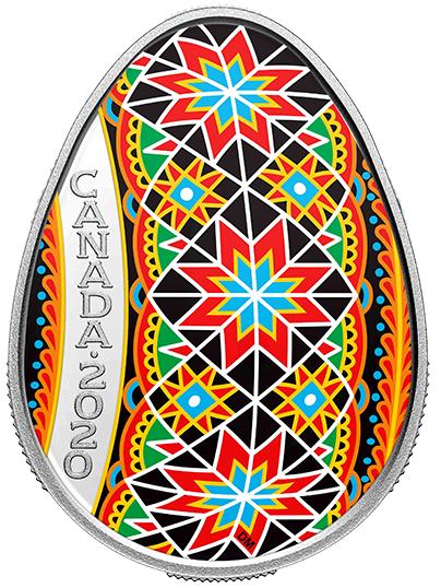 2020 - $20 - Pysanka - 1 oz. Pure Silver Coloured Coin