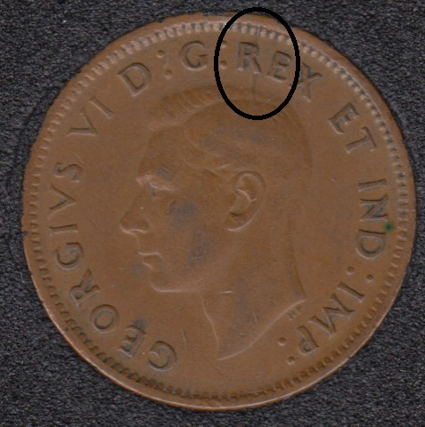 1943 - Break Head to R to Rim - Canada Cent