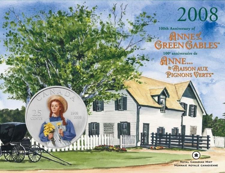 2008 pi ce de 25 cents 100e anniversaire d 39 anne la for Anne la maison aux pignons verts