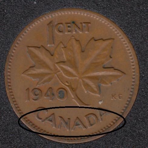 1940 - Break CANADA Attached - Canada Cent