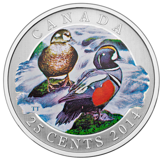 2014 - 25¢ - Harlequin Duck - Coloured Coin