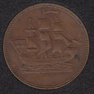 P.E.I. 1835 - Ship Colonies & Commerce - Half Penny Token - PE-10-29