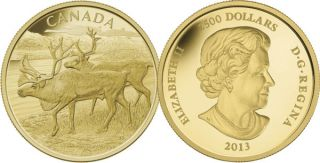 2013 - $2500 - Pure Gold 1 Kilogram Coin - The Caribou