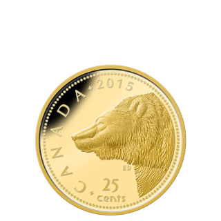 2014 - 25¢ - 0.5 g Pure Gold Coin - Grizzly Bear
