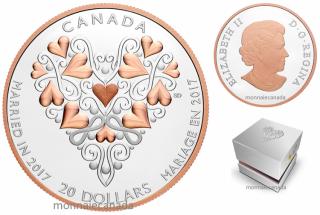 2017 - $20 - 1 oz en argent pur avec placage d'or rose – Meilleurs vœux pour votre mariage!