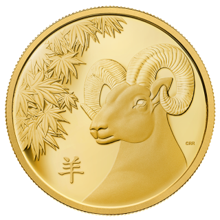 2015 - $2500 - Pure Gold One Kilogram Coin - Year of the Sheep