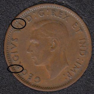 1943 - Break I & R to Rim - Canada Cent