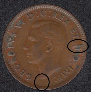 1943 - Break I to Rim - Bust to Rim - Canada Cent
