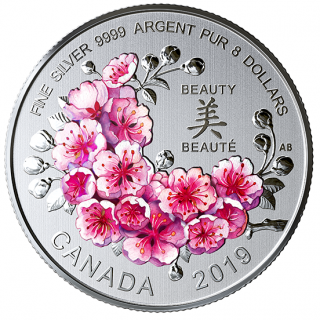 2019 - $8 - Pure Silver Coin - Brilliant Cherry Blossoms