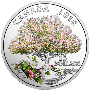 2018 - $15 - Pure Silver Coloured Coin - Celebration of Spring: Apple Blossoms