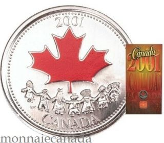 2001 25 cents coloured - canada day