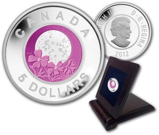 2012 FULL PINK MOON $5 STERLING SILVER AND NIOBIUM PROOF