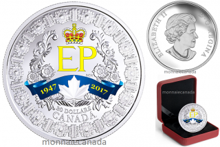 2017 - $20 - 1 oz. Pure Silver Coloured Coin - A Platinum Celebration